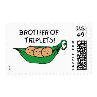 Brother of Triplets Pod Postage Stamps