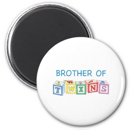 Brother of Twins Blocks 2 Inch Round Magnet