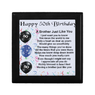 Brother Poem 50th Birthday Jewelry Box