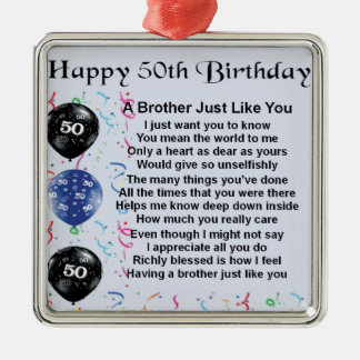 Brother Poem 50th Birthday Silver-Colored Square Decoration