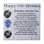 """Brother Poem 50th Birthday Tile<br><div class=""""desc"""">A great gift for a brother on his 50th birthday</div>"""