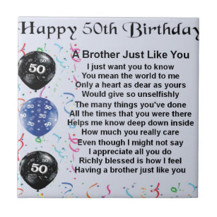 Brother Poem 50th Birthday Tile