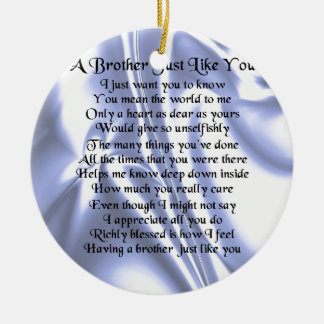 Brother Poem - Blue Silk Ceramic Ornament
