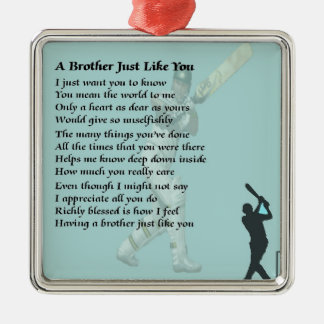 Brother Poem - Cricket Silver-Colored Square Decoration