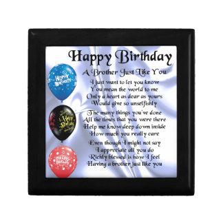 Brother Poem  Happy Birthday Jewelry Box