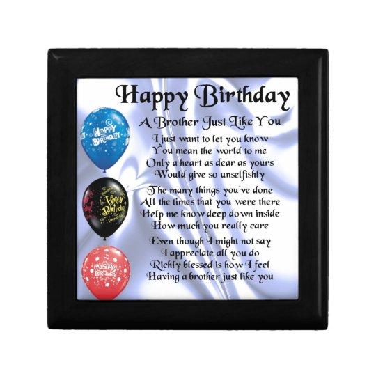 Brother Poem Happy Birthday Jewelry Box Zazzle Com