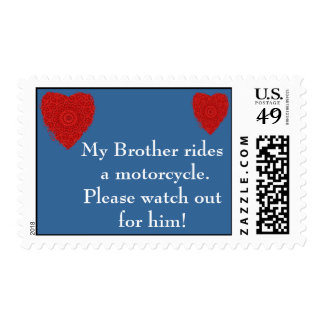 Brother rides a Motorcycle, watch out for him Postage