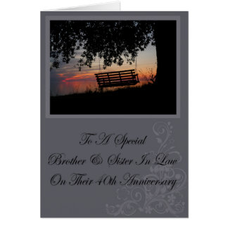 Brother & Sister In Law 40th Anniversary Card