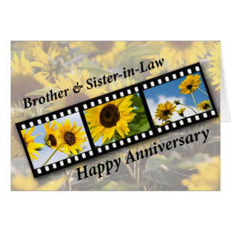 Brother & Sister-in-Law, Anniversary Sunflower Fil Card