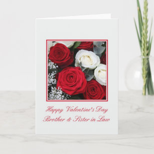 Brother Sister in Law red and white roses Holiday Card