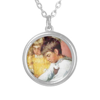 brother sister painting silver plated necklace