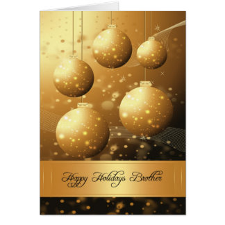 Brother stylish holiday greeting card with ornamen