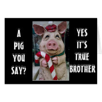 BROTHER THIS PIGGY AND HIS CANDY CANE JUST FOR YOU CARD