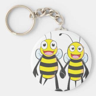 Brother y abeja de la hermana feliz junto llavero redondo tipo pin