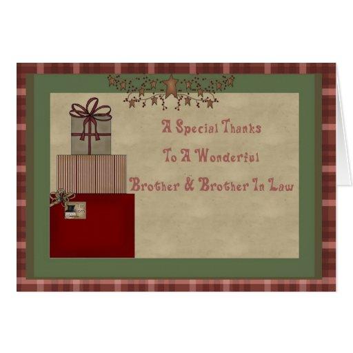 Brother y el regalo del navidad del cuñado le agra tarjeta de felicitación