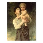Brother y hermana, Bouguereau, Victorian del Postal