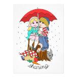 Brother y hermana que comparten el paraguas en llu comunicado personalizado