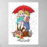 Brother y hermana que comparten el paraguas en llu impresiones