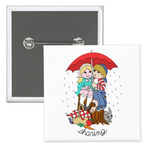 Brother y hermana que comparten el paraguas en llu pin