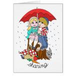 Brother y hermana que comparten el paraguas en llu felicitación