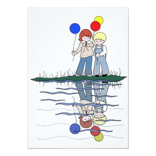 Brother y reflexiones de la hermana con los globos anuncio personalizado