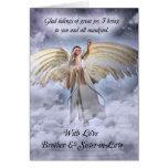 Brother y tarjeta de Navidad del ángel de la cuñad