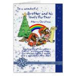 Brother y tarjeta de Navidad del socio con los due