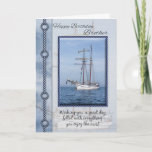 """Brother Yacht Birthday Greeting Card<br><div class=""""desc"""">Yacht Birthday Greeting Card With Blended Yacht In The Background</div>"""