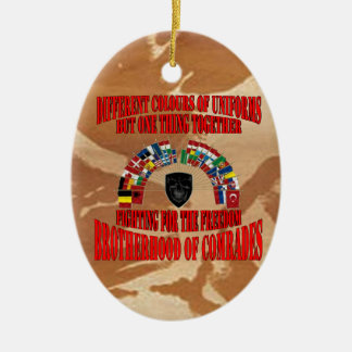 Brotherhood OF Military Comrades Double-Sided Oval Ceramic Christmas Ornament