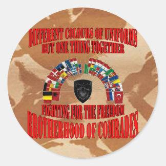 Brotherhood OF Military Comrades Round Stickers