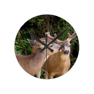 Brotherly Love Deer Bucks Round Clock