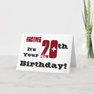 Brother's 20th birthday greeting in black, red. card Zazzle_foldedgreetingcard