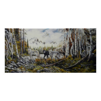 Brothers 4 wolves canvas oil painting for sale poster