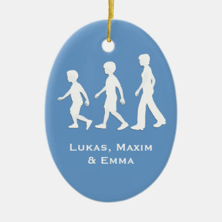 Brothers and Sister: Paper Cut-Out Style Siblings Christmas Tree Ornaments