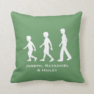 Brothers and Sister: Paper Cut-Out Style Siblings Throw Pillow