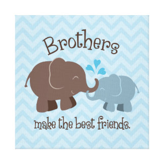 Brothers Art Canvas | Blue Brown Elephants
