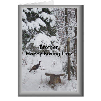 Brother's Boxing Day Greeting-Wild Turkey in Snow Card