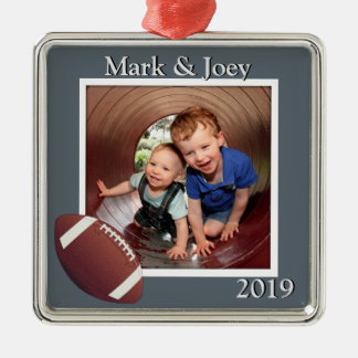 Brothers Football Personalized Photo Christmas Square Metal Christmas Ornament