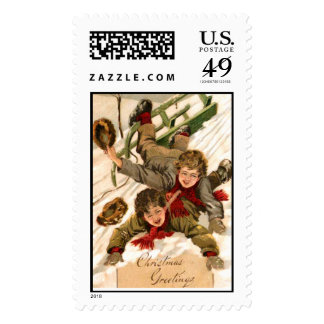 Brothers on old fashioned sleds stamps