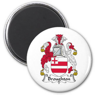 Broughton Family Crest 2 Inch Round Magnet