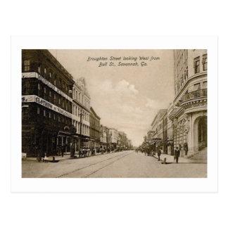 Broughton St., Savannah, Georgia Vintage Postcard