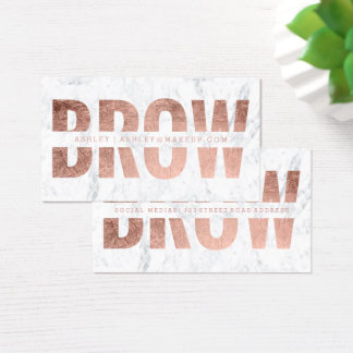 Brow cut out faux rose gold typography marble business card