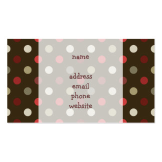 Brow Red and White Polk-a-dot Business Card Template