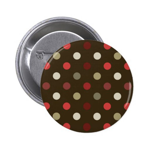 Brow Red and White Polk-a-dot Pinback Button
