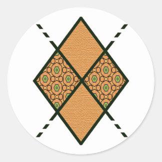 Brown-005 Golden Yellow Classic Round Sticker