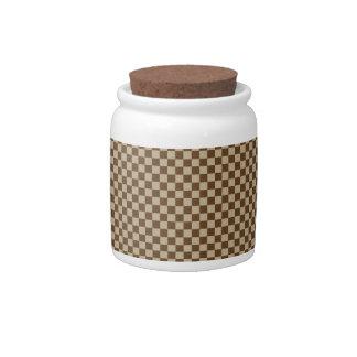 - Brown 2 - Brown de color caqui y oscuros a cuadr Platos Para Caramelos