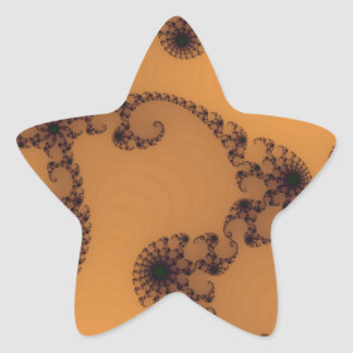 Brown Abstract Cluster Star Sticker