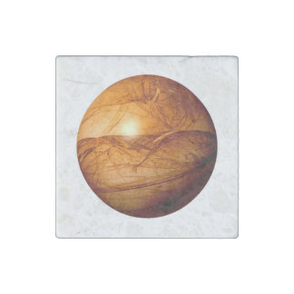 Brown Abstract Globe Stone Magnet