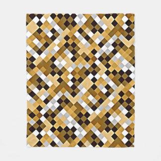 Brown Abstract Mosaic Pattern Fleece Blanket