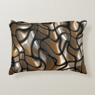 Brown Abstract Sea Design Accent Pillow